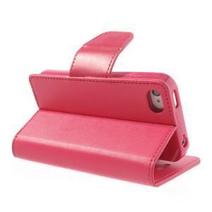 Diary PU kožené knížkové pouzdro na iPhone 4 - rose - 4