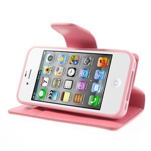 Diary PU kožené knížkové pouzdro na iPhone 4 - růžové - 4