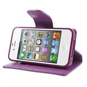Diary PU kožené knížkové pouzdro na iPhone 4 - fialové - 4