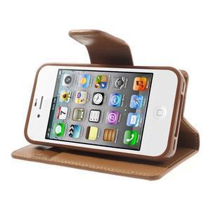 Diary PU kožené knížkové pouzdro na iPhone 4 - hnědé - 4