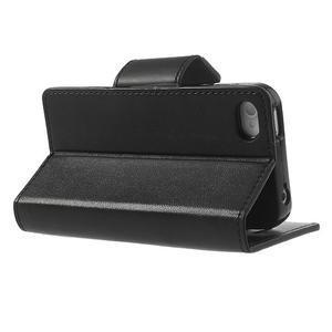 Diary PU kožené knížkové pouzdro na iPhone 4 - černé - 4