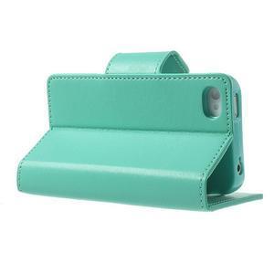 Diary PU kožené knížkové pouzdro na iPhone 4 - azurové - 4