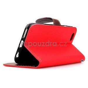 PU kožené peněženkové pouzdro pro iPhone 6s a 6 - červené - 4