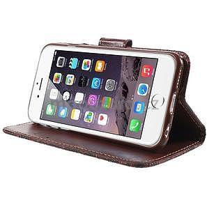 Elegantní květinové peněženkové pouzdro na iPhone 6 a 6s - červenohnědé - 4