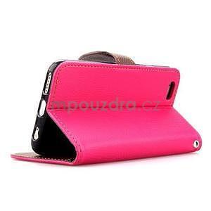 PU kožené peněženkové pouzdro pro iPhone 6s a 6 - rose - 4