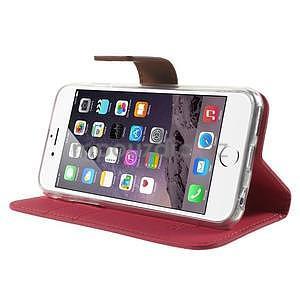 Peněženkové koženkové pouzdro na iPhone 6s a 6 - rose - 4