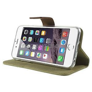Peněženkové koženkové pouzdro na iPhone 6s a 6 - khaki - 4