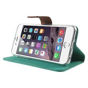 Peněženkové koženkové pouzdro na iPhone 6s a 6 - zelené - 4