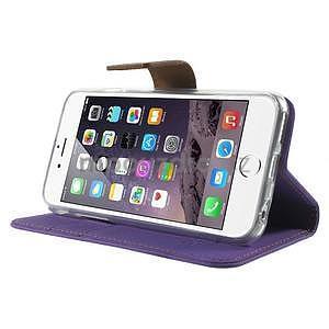 Peněženkové koženkové pouzdro na iPhone 6s a 6 - fialové - 4