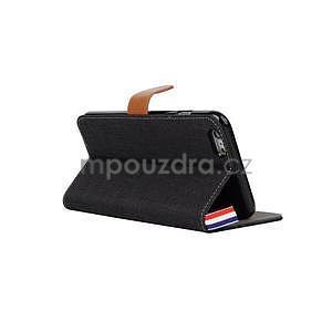 Látkové/koženkové peněženkové pouzdro na iphone 6s a 6 - černé - 4