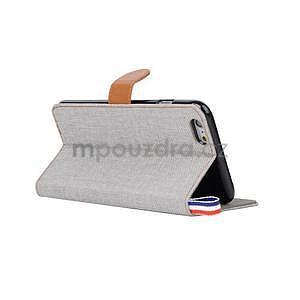 Látkové/koženkové peněženkové pouzdro na iphone 6s a 6 - šedé - 4