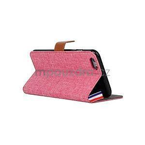 Látkové/koženkové peněženkové pouzdro na iphone 6s a 6 - růžové - 4
