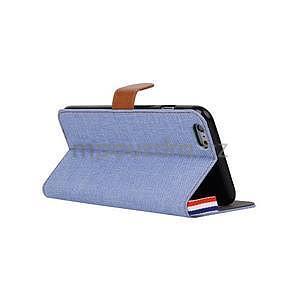 Látkové/koženkové peněženkové pouzdro na iphone 6s a 6 - světle modré - 4