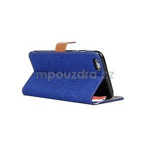 Látkové/koženkové peněženkové pouzdro na iphone 6s a 6 - modré - 4