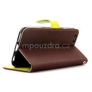 PU kožené peněženkové pouzdro pro iPhone 6s a 6 - hnědé - 4