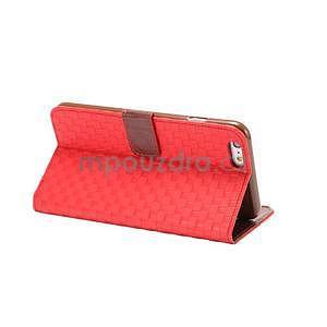 Mřížkované koženkové pouzdro na iPhone 6 a iPhone 6s - červené - 4