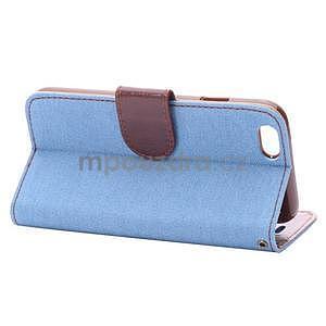 Jeans látkové/pu kožené peněženkové pouzdro na iPhone 6 a 6s - světle modré - 4