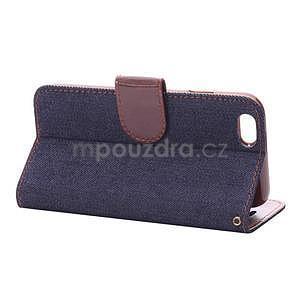 Jeans látkové/pu kožené peněženkové pouzdro na iPhone 6 a 6s - tmavě modré - 4
