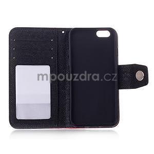 Dvoubarevné peněženkové pouzdro pro iPhone 6 a iPhone 6s - černé/zelené - 4