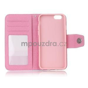 Dvoubarevné peněženkové pouzdro pro iPhone 6 a iPhone 6s - růžové/bílé - 4
