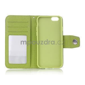 Dvoubarevné peněženkové pouzdro pro iPhone 6 a iPhone 6s - zelené/žluté - 4