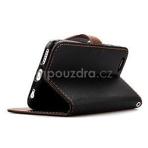 PU kožené peněženkové pouzdro pro iPhone 6s a 6 - černé - 4
