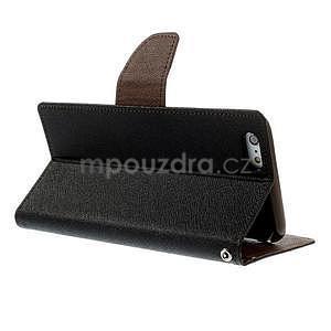 Peněženkové pouzdro pro iPhone 6 Plus a 6s Plus - černé/hnědé - 4