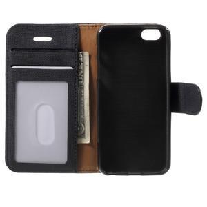 Cloth PU kožené pouzdro na iPhone SE / 5s / 5 - černé - 4