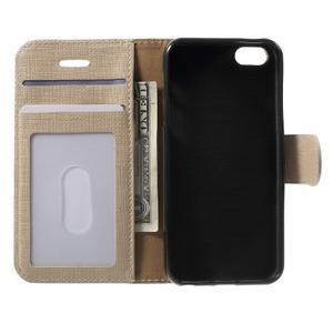 Cloth PU kožené pouzdro na iPhone SE / 5s / 5 - zlaté - 4