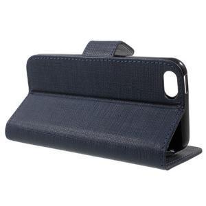 Cloth PU kožené pouzdro na iPhone SE / 5s / 5 - tmavěmodré - 4