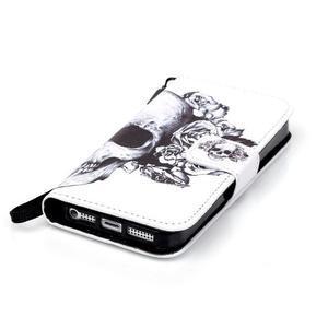 Peněženkové pouzdro na mobil iPhone SE / 5s / 5 - lebka - 4