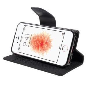 Canvas PU kožené/textilní pouzdro na mobil iPhone SE / 5s / 5 - černé - 4