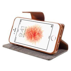 Canvas PU kožené/textilní pouzdro na mobil iPhone SE / 5s / 5 - šedé - 4