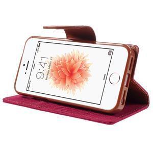 Canvas PU kožené/textilní pouzdro na mobil iPhone SE / 5s / 5 - červené - 4