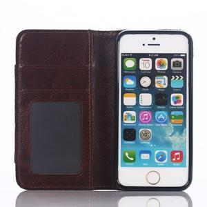 Jeans peněženkové pouzdro na mobil iPhone SE / 5s / 5 - tmavěmodré - 4