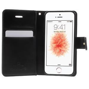 Extrarich PU kožené pouzdro na iPhone SE / 5s / 5 - černé - 4
