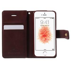 Extrarich PU kožené pouzdro na iPhone SE / 5s / 5 - vínověčervené - 4
