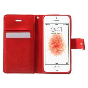 Extrarich PU kožené pouzdro na iPhone SE / 5s / 5 - červené - 4