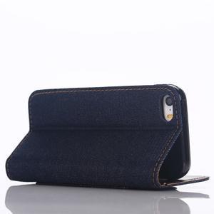 Jeans peněženkové pouzdro na mobil iPhone SE / 5s / 5 - černomodré - 4