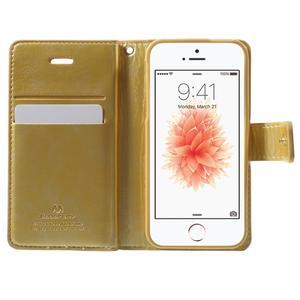 Extrarich PU kožené pouzdro na iPhone SE / 5s / 5 - zlaté - 4