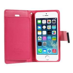 Rich diary PU kožené pouzdro na iPhone SE / 5s / 5 - růžové - 4
