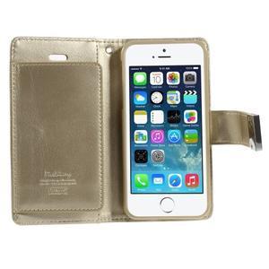 Rich diary PU kožené pouzdro na iPhone SE / 5s / 5 - zlaté - 4