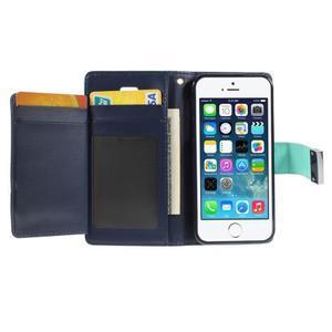 Rich diary PU kožené pouzdro na iPhone SE / 5s / 5 - azurové - 4