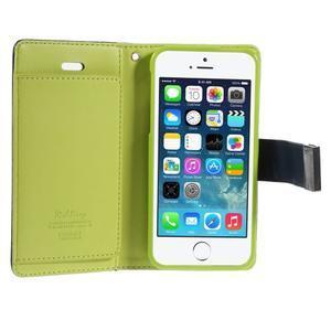 Rich diary PU kožené pouzdro na iPhone SE / 5s / 5 - tmavěmodré - 4