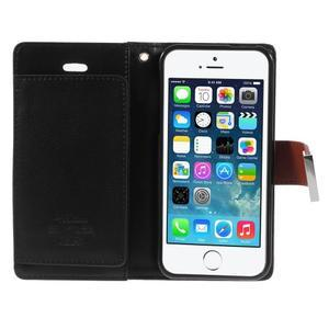 Rich diary PU kožené pouzdro na iPhone SE / 5s / 5 - hnědé - 4