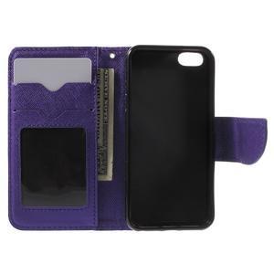 Cross PU kožené pouzdro na iPhone SE / 5s / 5 - fialové - 4