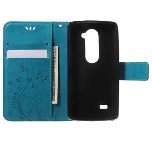 Buttefly PU kožené pouzdro na mobil LG Leon - modré - 4
