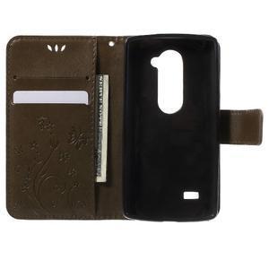 Buttefly PU kožené pouzdro na mobil LG Leon - coffee - 4