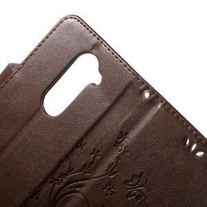 Buttefly PU kožené pouzdro na mobil LG Leon - hnědé - 4