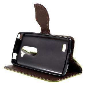 Leaf PU kožené pouzdro na mobil LG Leon - zelené - 4